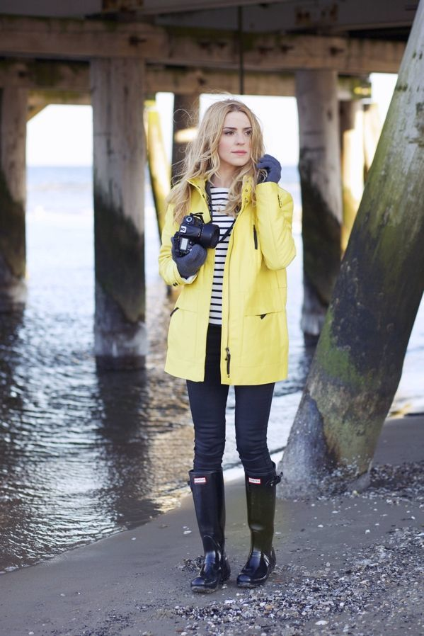 5d4c49346410 Add some color to your rainy day outfit – Wear a striped shirt with jeans  and long leather boots. Add color by wearing a yellow leather trench coat  and ...