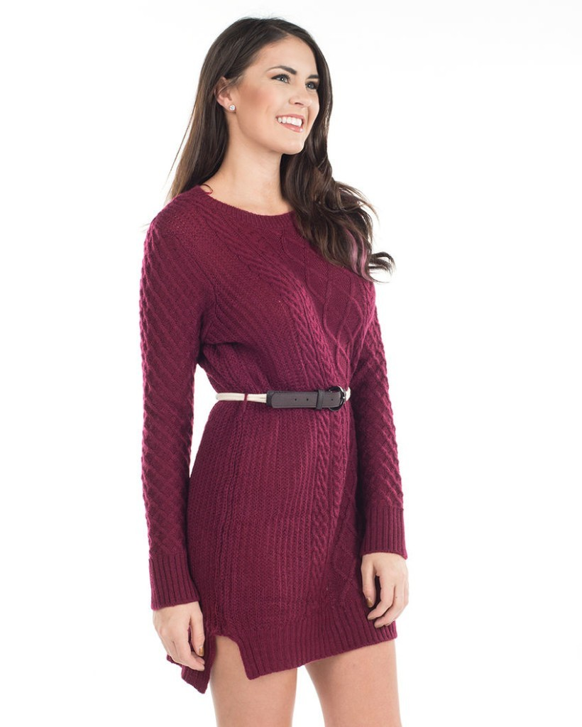 long-sleeve sweater dress at the country music concert