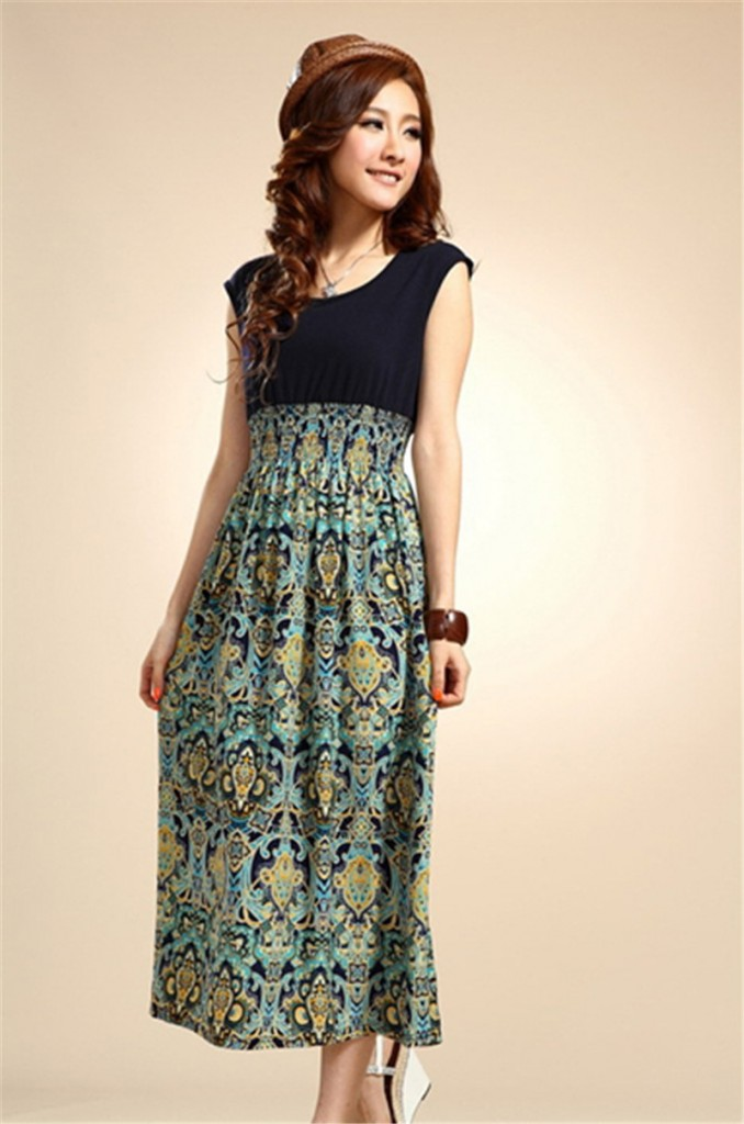 long floral dress at the country music concert