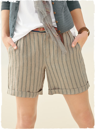striped linen shorts for a camping trip