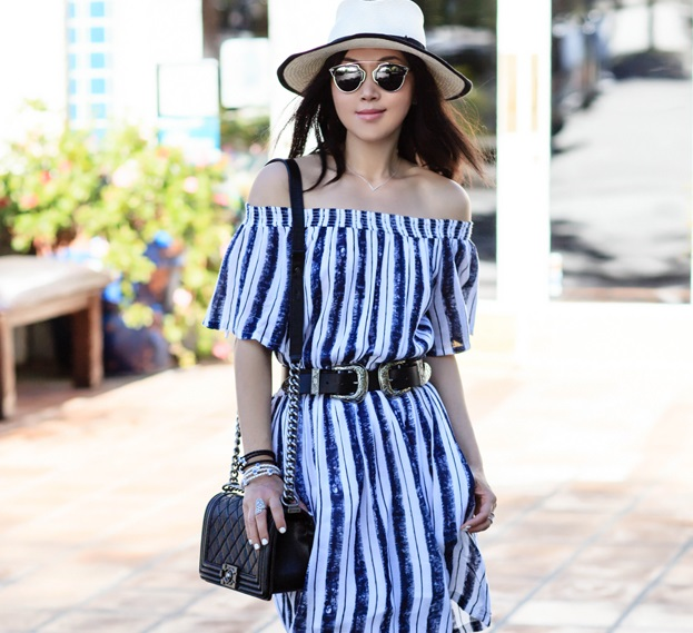 off-the-shoulder style for the race day