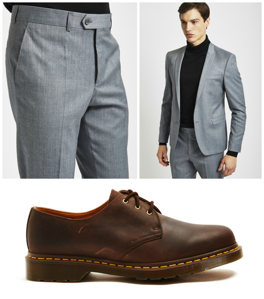 Blue Shirt Grey Suit Brown Shoes