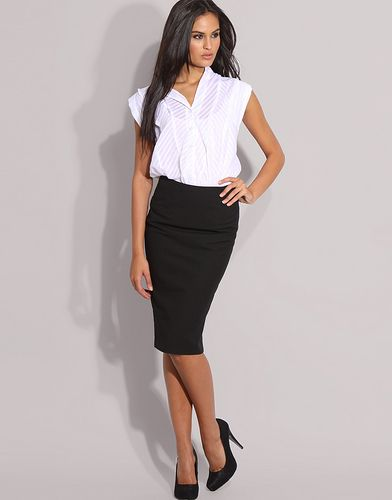 white-shirt and pencil skirt