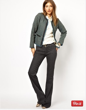 grey jeans with a textured jacket