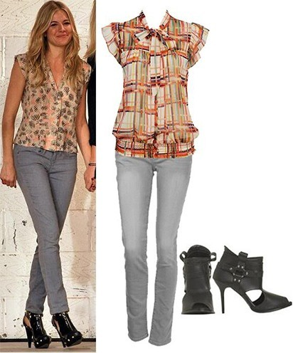 grey jeans and multicolored blouse