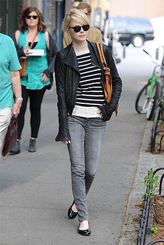 grey jeans with black and white stripes
