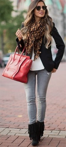 grey jeans with a black jacket and scarf