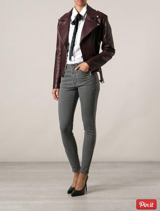grey jeans and moto jacket and blouse