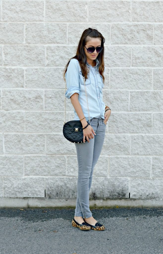 grey jeans and denim shirts