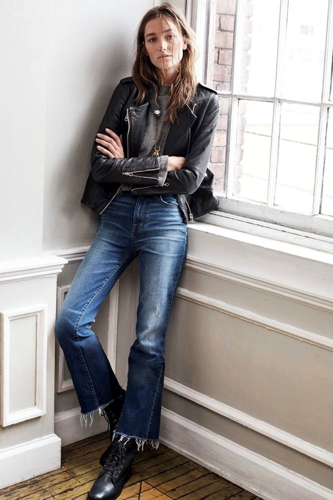 cropped jeans with leather jacket