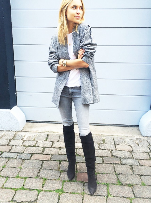 cropped jeans with tall boots