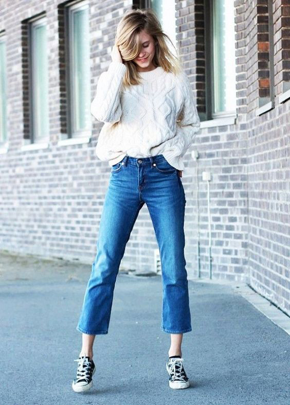 cropped denim with sweater