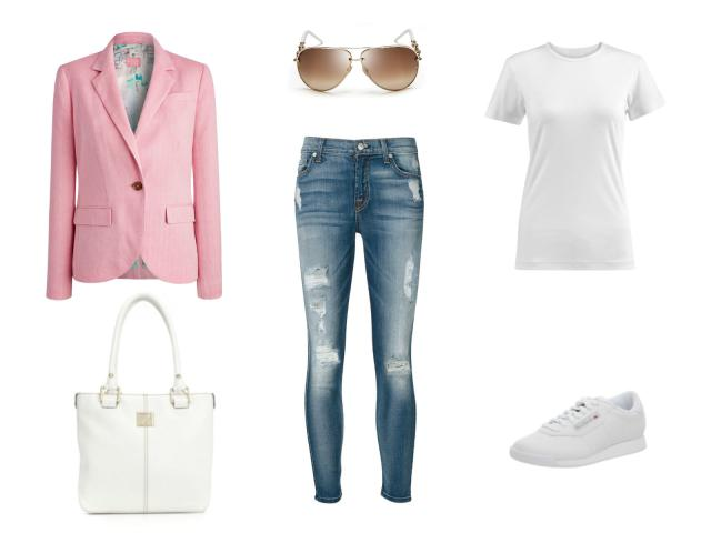 crpped denim with pastel blazer