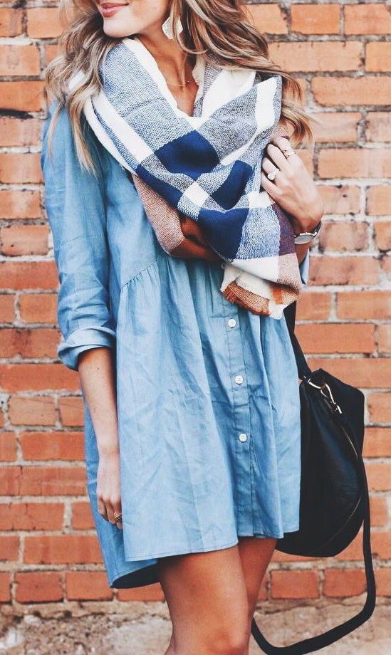 thanksgiving-outfit-denim-dress-with-scarf