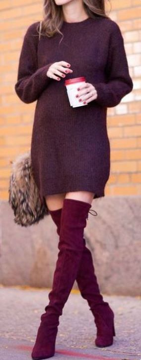 thanksgiving-outfit-maroon-sweater-dress