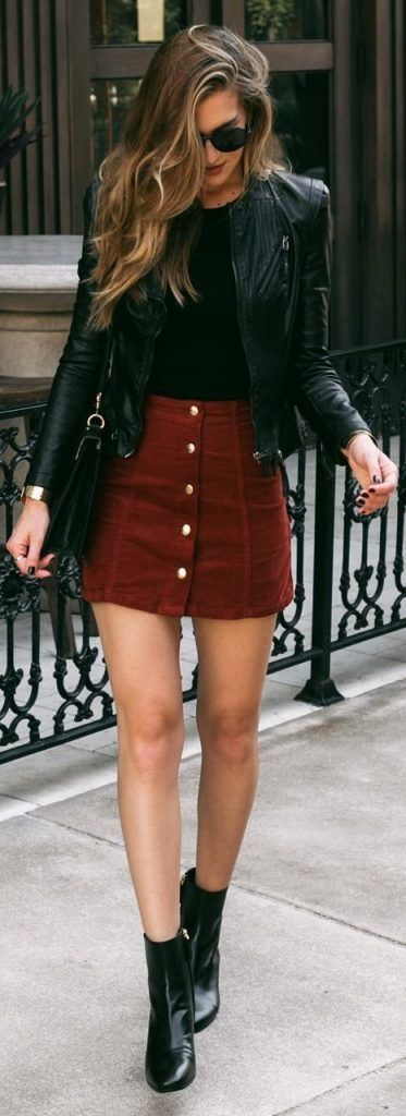 442ccd7696 21. Leather Jacket With Dresses And Boots. Leather jacket with boots