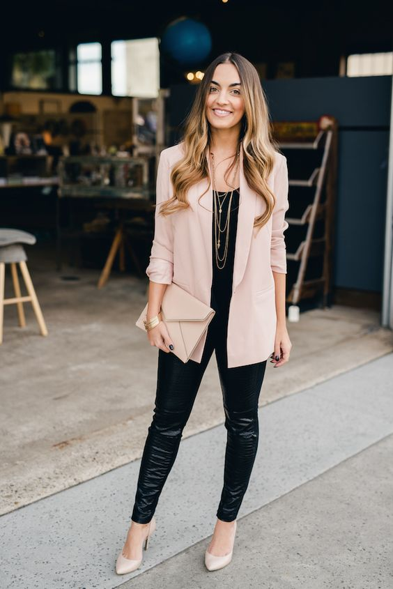 Pink longsleeve boyfriend blazer, black top, leather pants