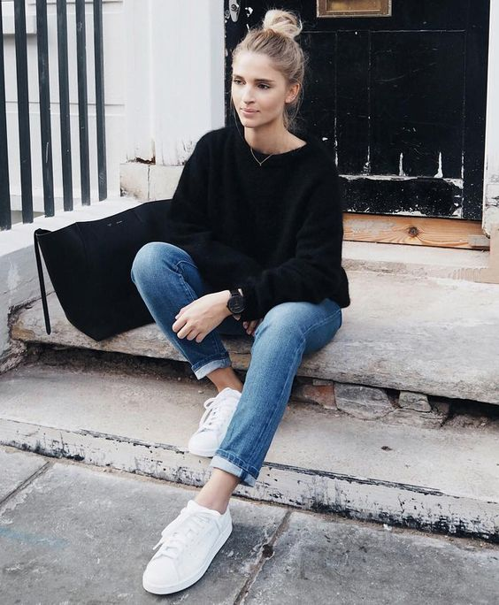 98ae72432403 Black pullover sweater outfit with denim jeans and white sneakers