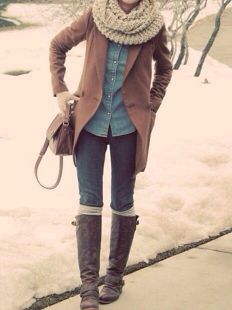 Denim Winter Outfit Idea For Girls