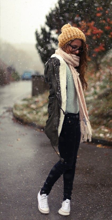 Vintage Winter Outfit Idea Style With Converse Shoes