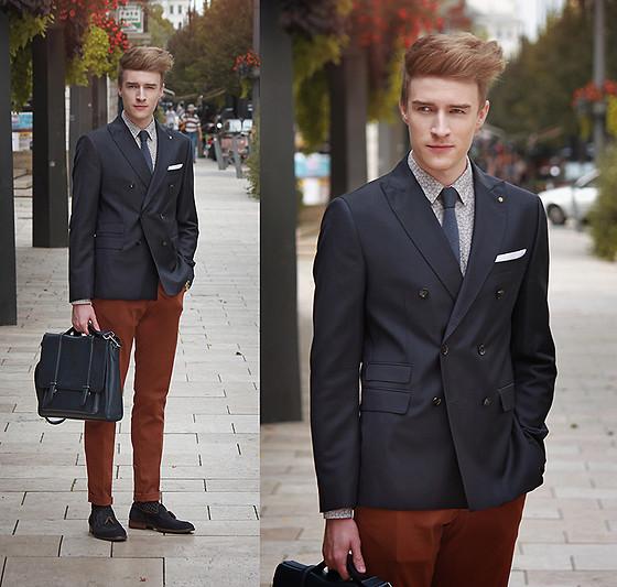 Brown Shoes Grey Pants Red Shirt