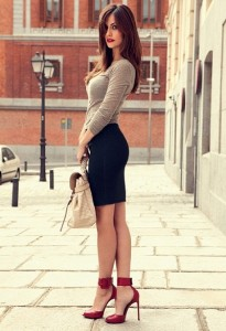 pencil skirt and heels