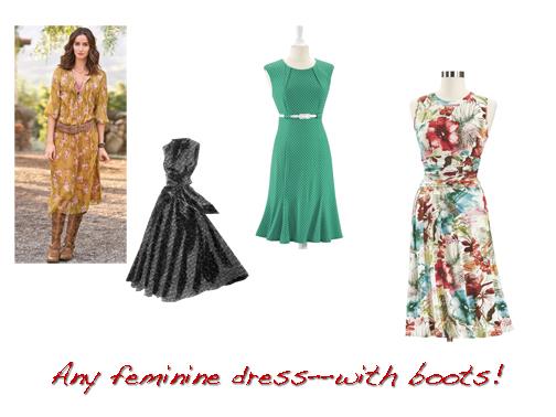 Super Feminine Dress And Boots